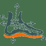 stopa na wkładce narciarskiej rysunek